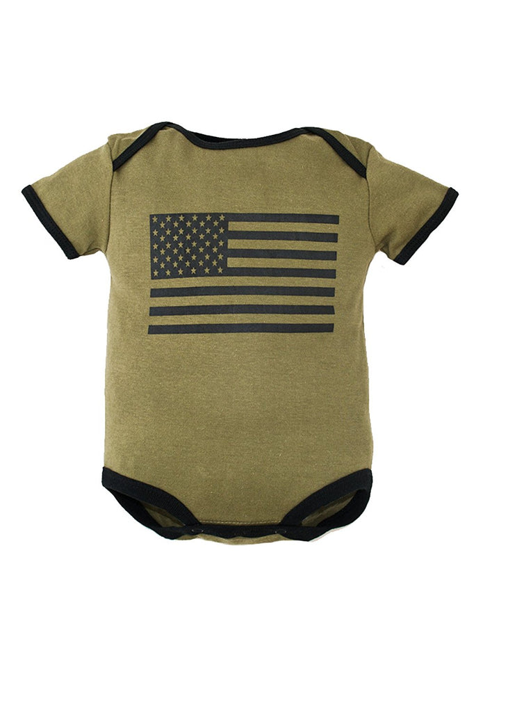Trooper Clothing American Flag 1pc Bodysuit,6-9 Months, OD Green, 6-9 Months 9003