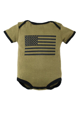 Trooper Clothing American Flag 1pc Bodysuit,3-6 Months, OD Green, 3-6 Months 9003