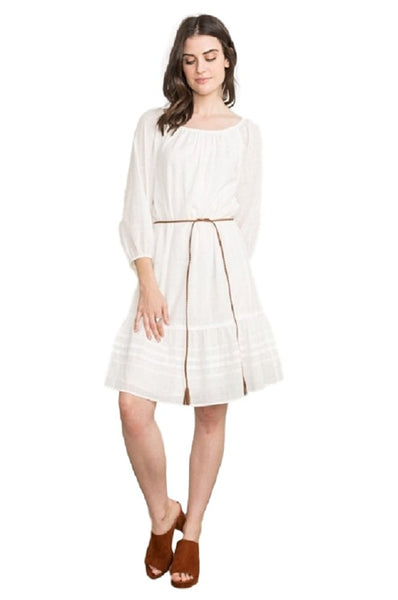 Elastic Neck Pleated Skirt Dress by IVETH