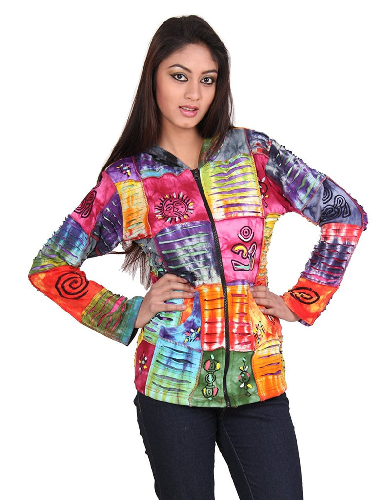 Royal Handicrafts Cotton Patchwork With Rips Hooded Jacket PN955