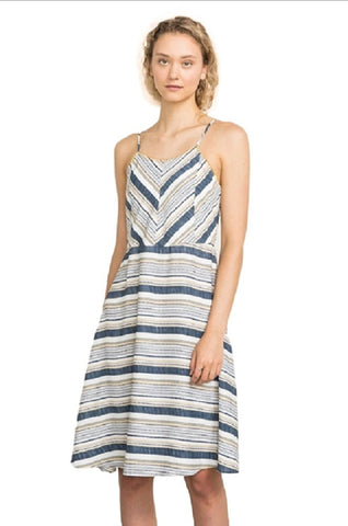 Blanket Stitch Striped Dress by IVETH