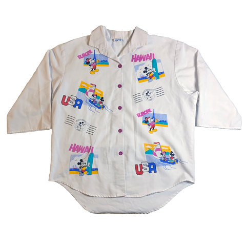 VERY RARE VTG 1986 - MICKEY WORLD TRAVELER 3/4 SLEEVE BUTTON UP