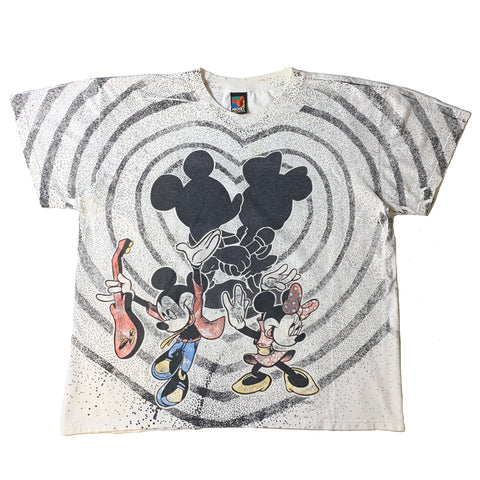 RARE Vintage 90's Mickey & Minnie Heart All Over Shirt