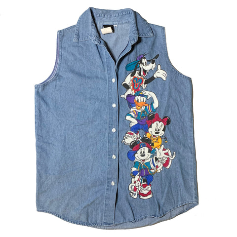 Vintage Mickey Sqaud Denim Sleeveless Shirt