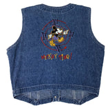 VINTAGE 90'S MICKEY TIME DENIM VEST MEDIUM
