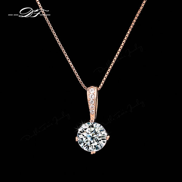 Cubic Zirconia Chain Necklaces & Pendants Rose Gold Color Fashion Crystal Wedding Jewelry For Women