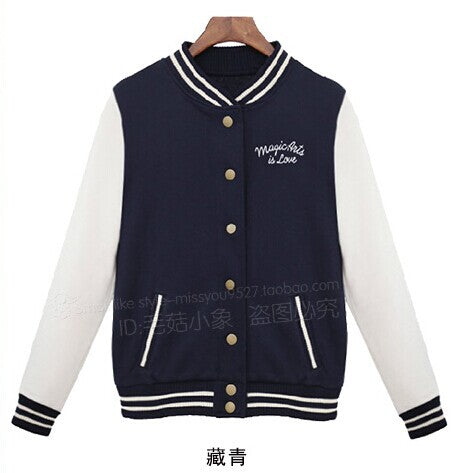 Sweatshirt Baseball Jacket For Autumn & Winter in Cotton Active Stand Collar With Pockets Coat