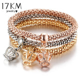 3 PCS/Set Crystal Bracelet & Bangle Multiple Shape Elastic Heart Bracelets For Women Jewelry