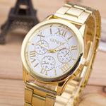 Fashion Women Watch Roman Numerals Female Clock Stainless Steel Classic Round Dial Gold Quartz Wrist watch