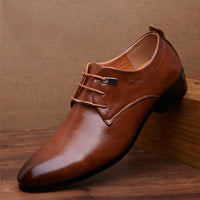 Men Business Formal Dress Shoes Oxford Men Leather Shoes Lace-Up Pointed Toe British Style Men Shoes
