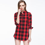 Women Blouses Plaid Flannel Shirts Tops Warm Cotton Long Sleeve
