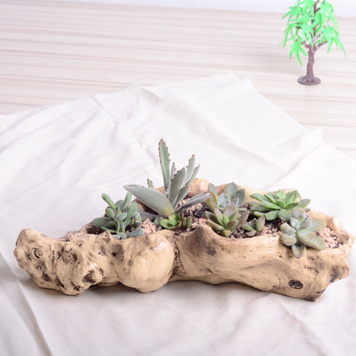 Faux Wood Creative Resin Flower Planter Wood Like Succulent Plant Pot Vintage Cactus Plant Container