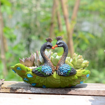 2 Pack Resin Green Peacock Succulent Planter Vintage Cactus Small Container