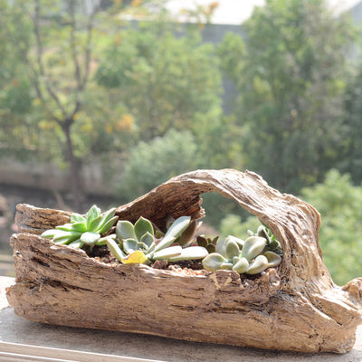 Faux Wood Planter Wood Like Cactus Container Driftwood Stump Log Planter Pot (B)