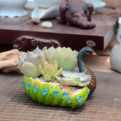 Pretty Peacock Handmade Succulent Planter Cactus Pot Green Planter