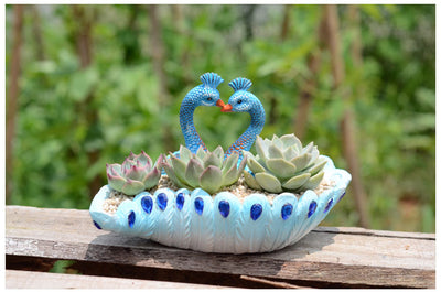 Pack of 2 Vintage Peacock Succulent Plant Resin Vintage Cactus Container Peacock Planter