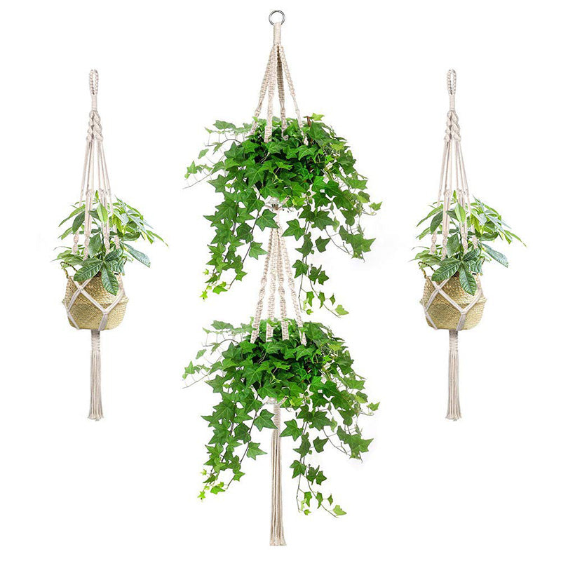 Pack of 3 Handmade Macrame Plant Hangers Hanging Planter Cotton Rope