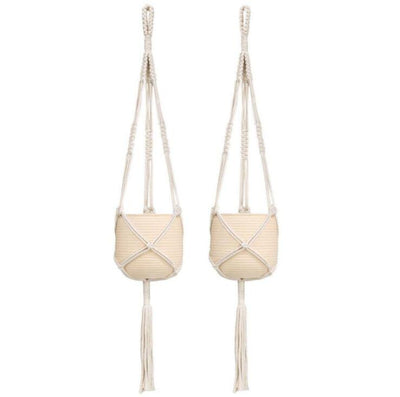 Set of 2 Macrame Plant Hanger Indoor Outdoor Hanging Planter Basket Cotton Rope 3 Legs 39 inch