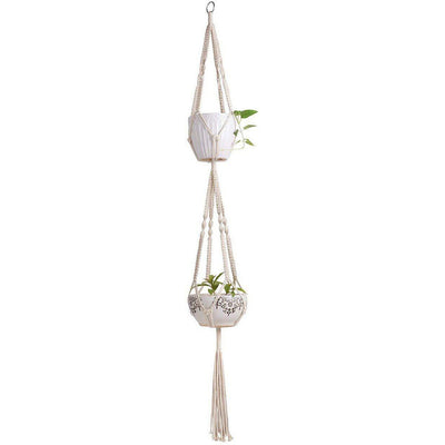 Decorative Macrame Double Plant Hanger Macrame Hanging Plant Basket