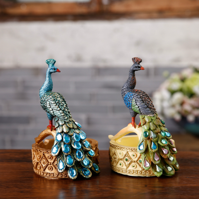 Pack of 2 Pretty Peacock Resin Pot Vintage Cactus Container Beautiful Planter