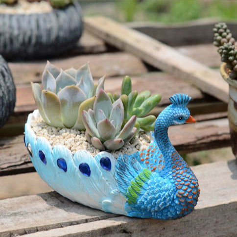 4 Pack Resin Blue Peacock Succulent Planter Vintage Cactus Small Container