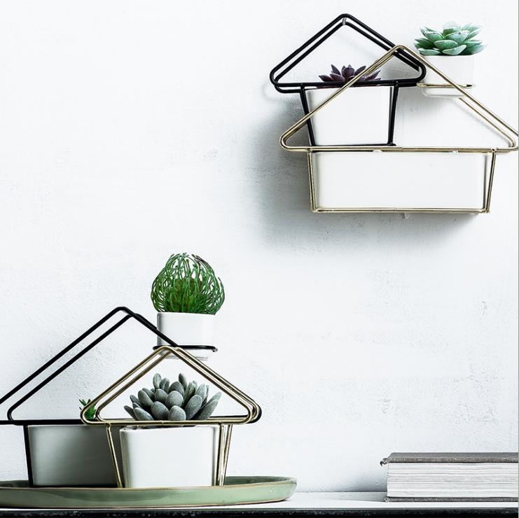 Decorative Planter Hanging/Standing Succulent Planter with Metal Holder Home Style Planters