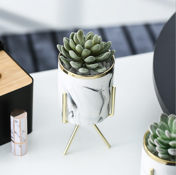 Marble Succulent Planter Fashion Container with Metal Holder Modern Indoor Planters