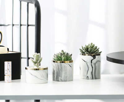 Marble Succulent Planter Pack of 3 Fashion Container with Iron Rack Modern Indoor Planters