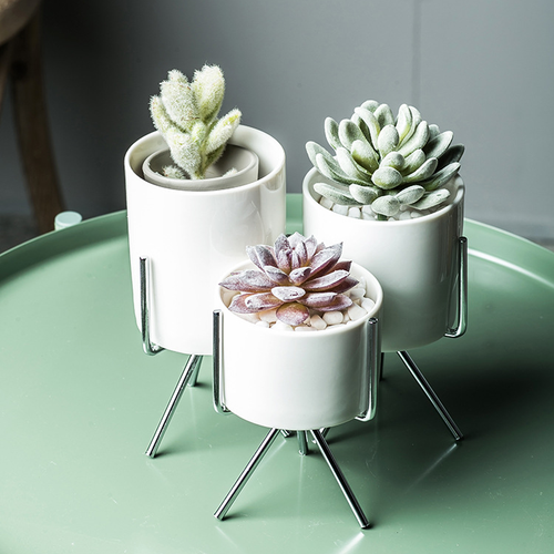 Modern Succulent Planter Pack of 3 Ceramics Container with Iron Rack Silver Planters