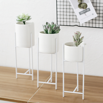 Modern Succulent Planter Set of 3 with Tall Iron Rack Cactus White Container Indoor Decorative Planters