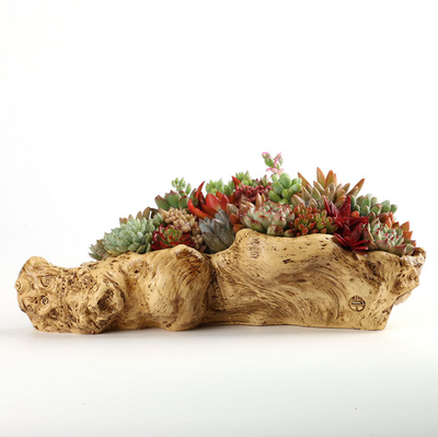 Faux Wood Creative Resin Flower Planter Wood Like Succulent Planter Driftwood Stump Log Planter Pot (A)