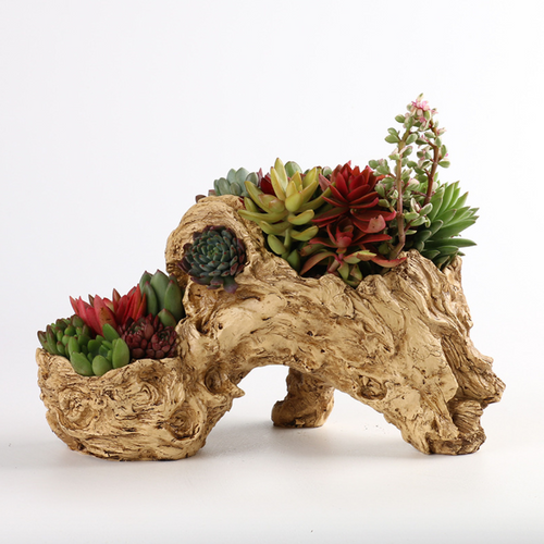 Unique Resin Flower Planter Faux Wood Succulent Planter Driftwood Stump Log Planter Pot