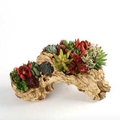 Creative Resin Flower Planter Faux Wood Succulent Planter Driftwood Stump Log Planter Pot (C)