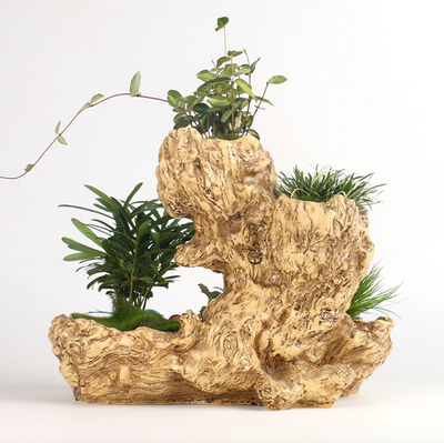 Large Faux Wood Creative Resin Flower Planter Wood Like Succulent Planter Driftwood Stump Log Planter Pot (A)