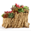 Faux Tree Root Planter Wood Like Cactus Container Driftwood Planter Stump Log Container Pot (U)