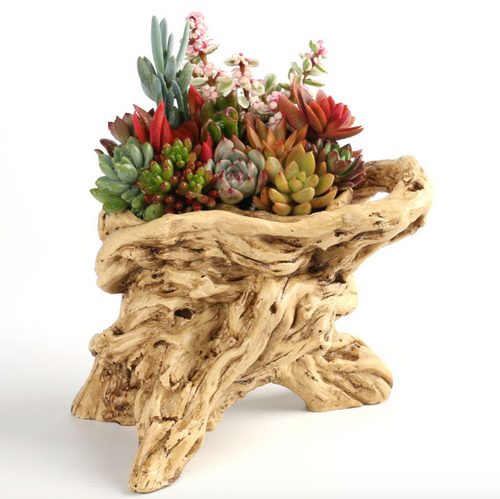 Stump Planter Creative Resin Catcaus Planter Faux Wood Succulent Planter Driftwood Log Planter Pot (J)