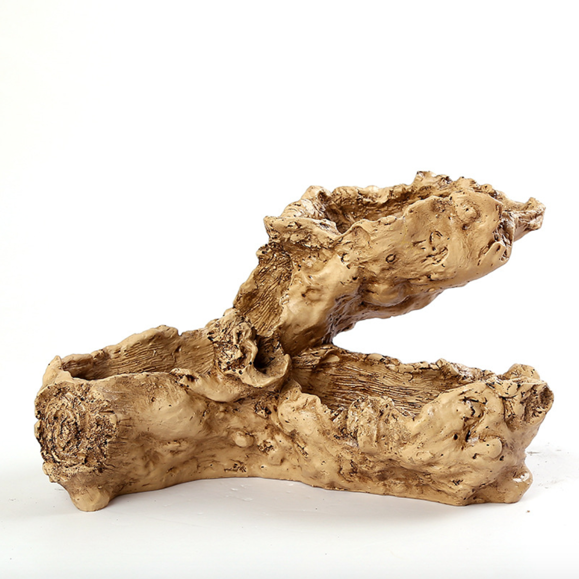 Driftwood Stump Log Planter Pot Container Faux Wood Planter Wood Like Cactus Container  (I)