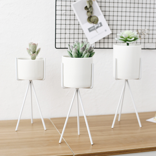 Quality Succulent Planter Pack of 3 Morden Container with Triangle White Iron Rack Planters