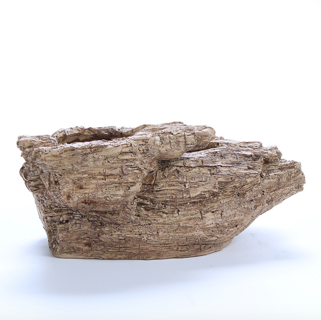Unique Stump Planter Driftwood Planter Resin Faux Wood Succulent Container Planter Log Pot (T)