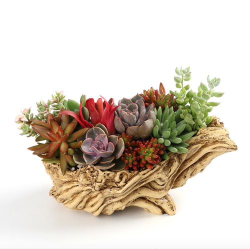 Unique Driftwood Planter Resin Flower Planter Faux Wood Succulent Container Planter Stump Log Planter Pot (V)