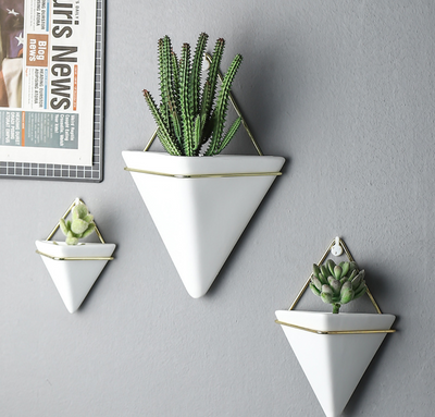 Black and White Wall Succulent Planter Set Pack of 3 Fashion Hanging Container Planters