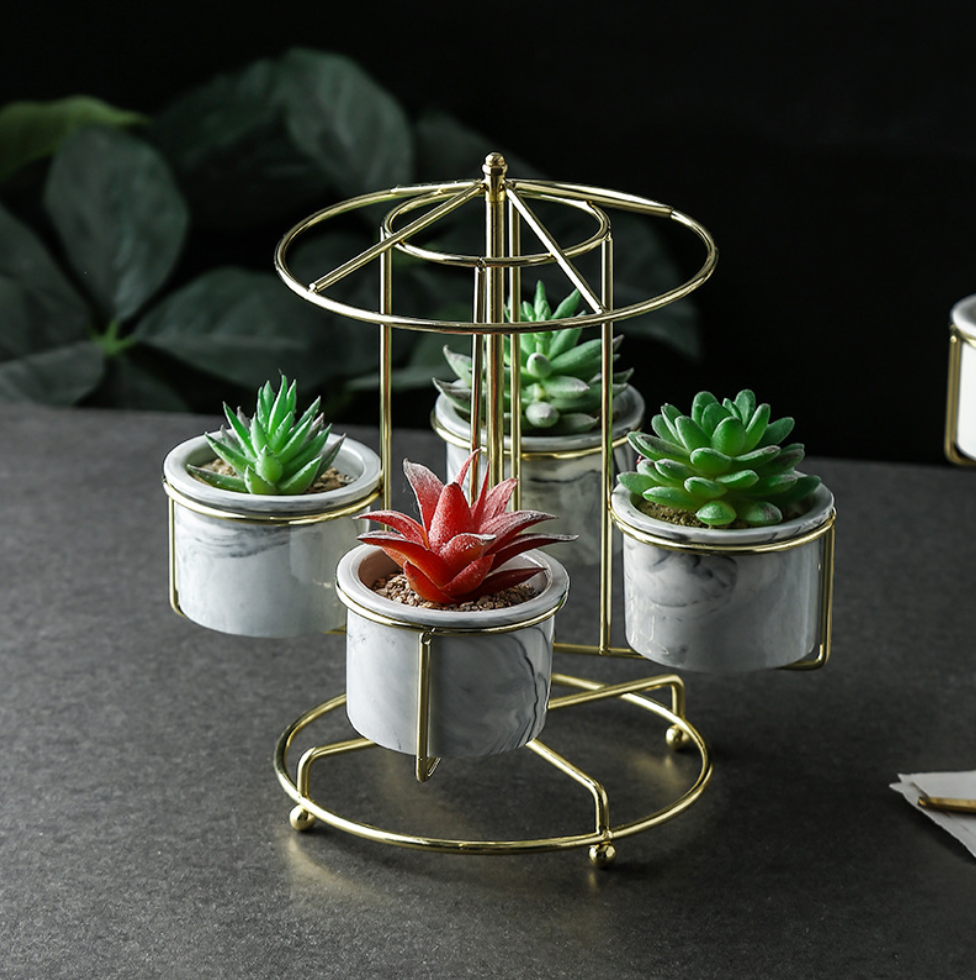 Marble Succulent Planter Set Pack of 4 Fashion Container with Golden Iron Rack Planters