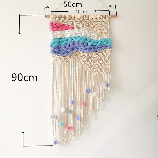 Modern Macrame Wall Hanging Tapestry Macrame Wall Art With Yarn Weaving