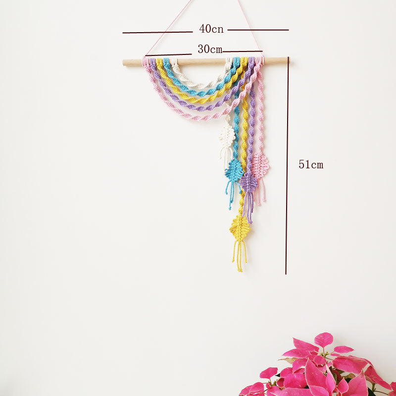 Handmade Colored Macrame Wall Hanging Wall Decor for Kids Room