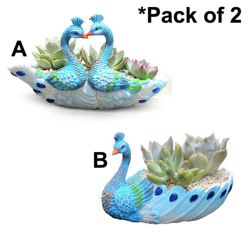 2 Pack Resin Blue Peacock Succulent Planter Vintage Cactus Small Container