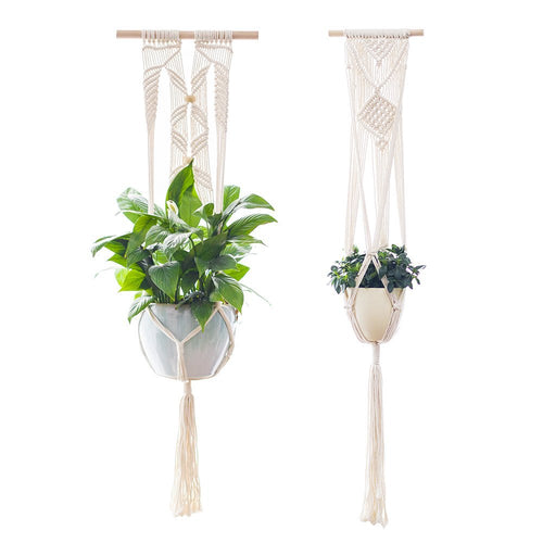 Set of 2 Macrame Plant Hangers Hanging Planters
