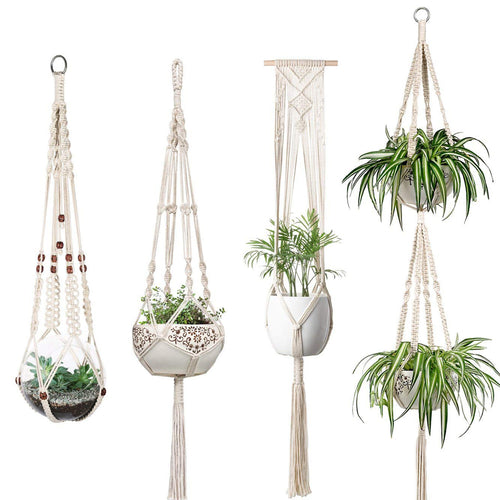 Set of 4 Macrame Plant Hanger Hanging Planter Basket Flower Pot Holder