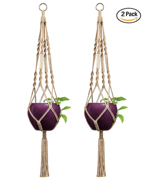 Pack of 2 Macrame Plant Hanger Indoor Outdoor Hanging Planter Basket Jute Rope 4 Legs 40 Inch