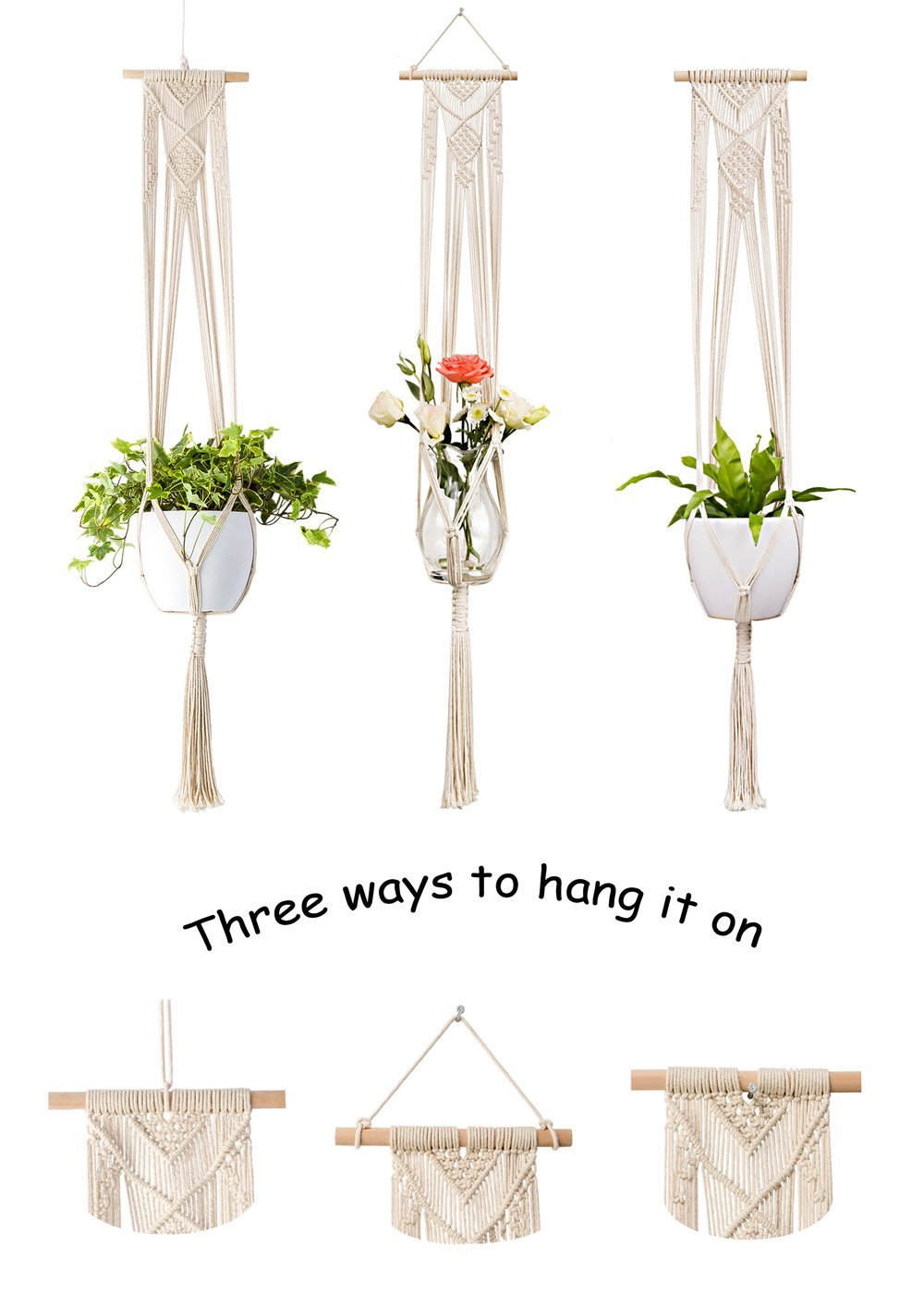 Pack of 2 Macrame Plant Hanger Hanging Planters Wall Decals