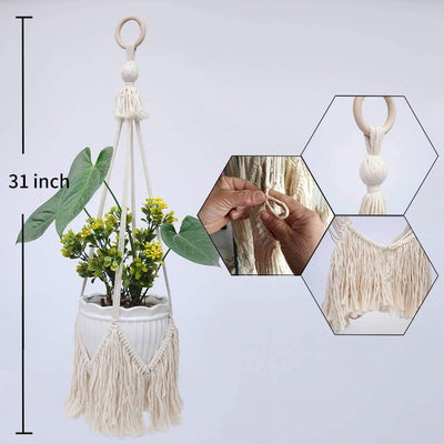Set of 2 Macrame Hanging Planters Plant Hangers 31 inches Length